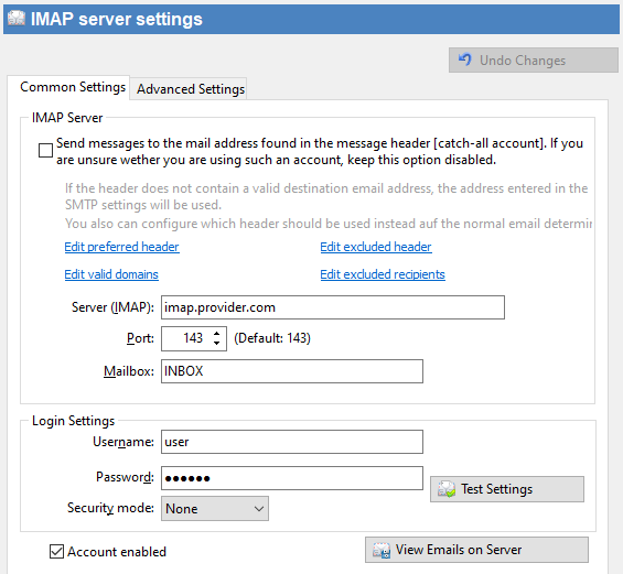 Navigation Pane > Accounts > IMAP