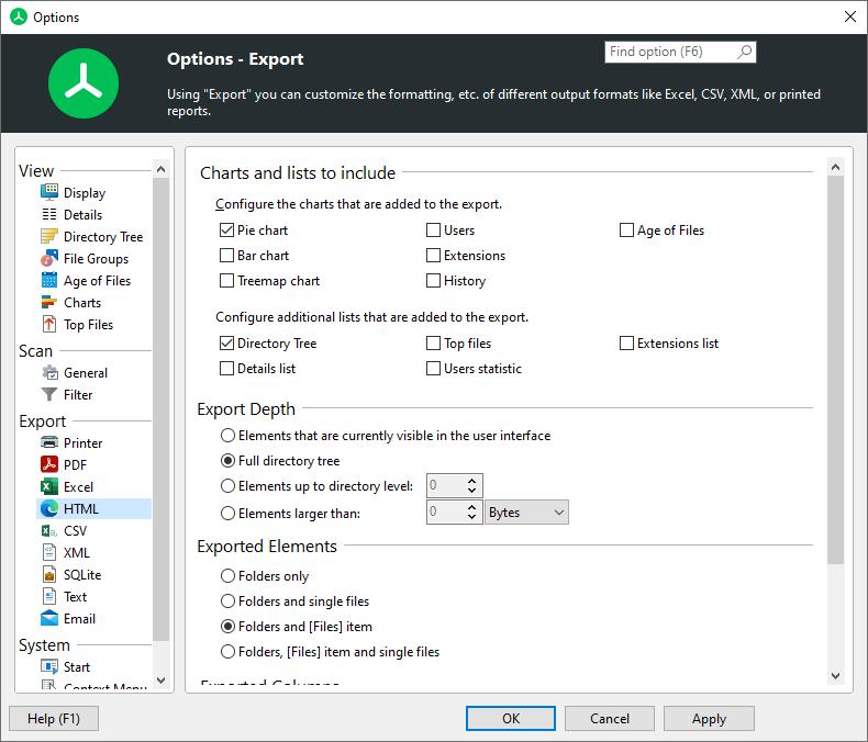 Using Treesize Options Dialog Export Html